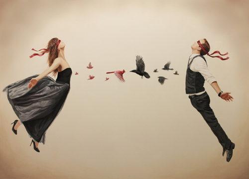 Женщину и мужчину тянет друг к другу. Арт рисунок